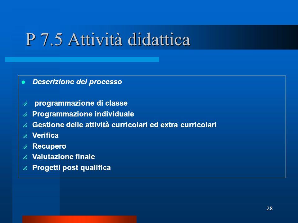 28 P 7.5 Attività didattica Descrizione del processo programmazione di classe Programmazione individuale Gestione delle attività curricolari ed extra curricolari Verifica Recupero Valutazione finale Progetti post qualifica