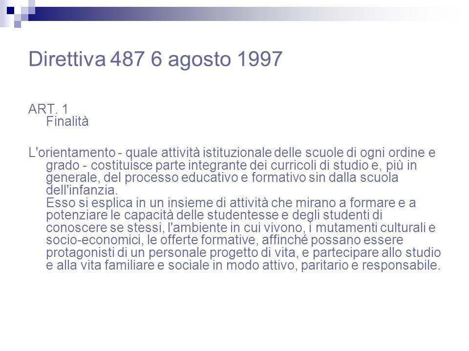 Direttiva 487 6 agosto 1997 ART. 1 Finalità L'orientamento - quale attività istituzionale delle scuole di ogni ordine e grado - costituisce parte inte