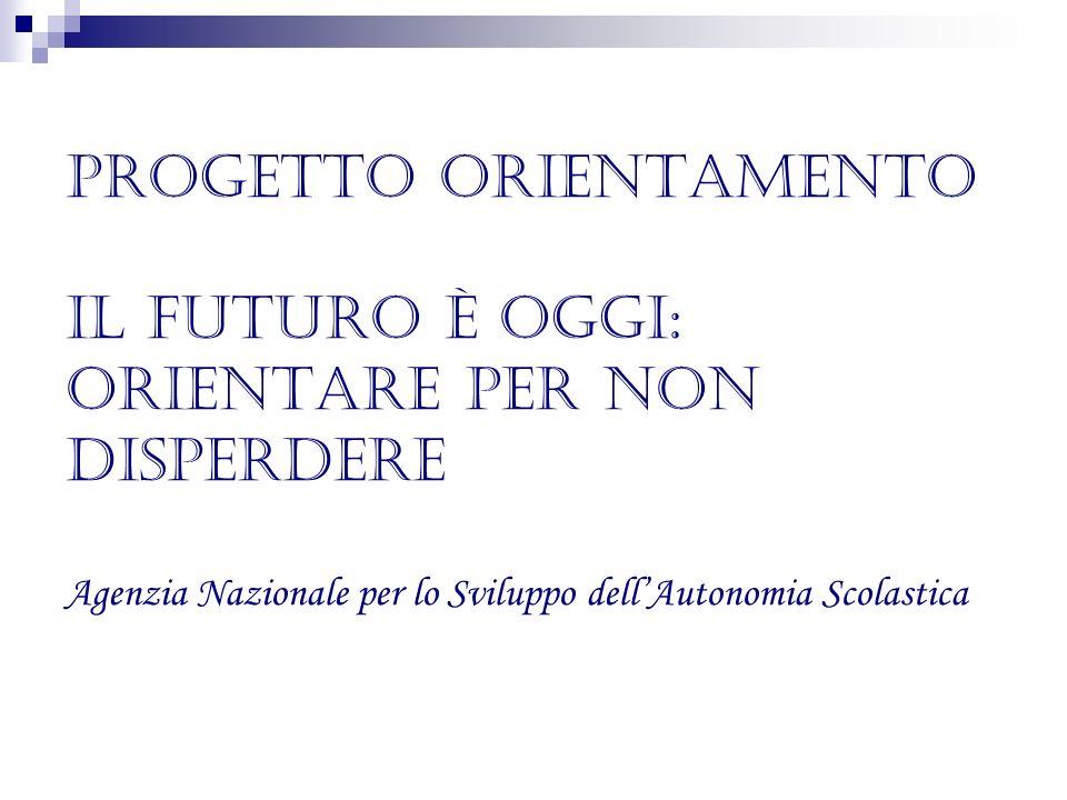 Progetto Orientamento Il futuro è oggi: Orientare per non disperdere Agenzia Nazionale per lo Sviluppo dellAutonomia Scolastica