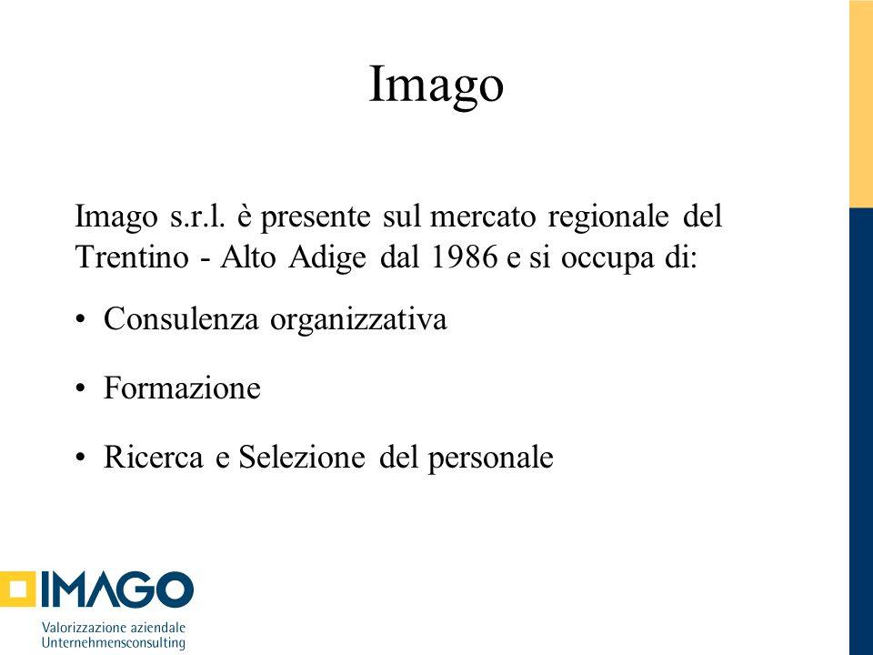 Imago Imago s.r.l. è presente sul mercato regionale del Trentino - Alto Adige dal 1986 e si occupa di: Consulenza organizzativa Formazione Ricerca e S