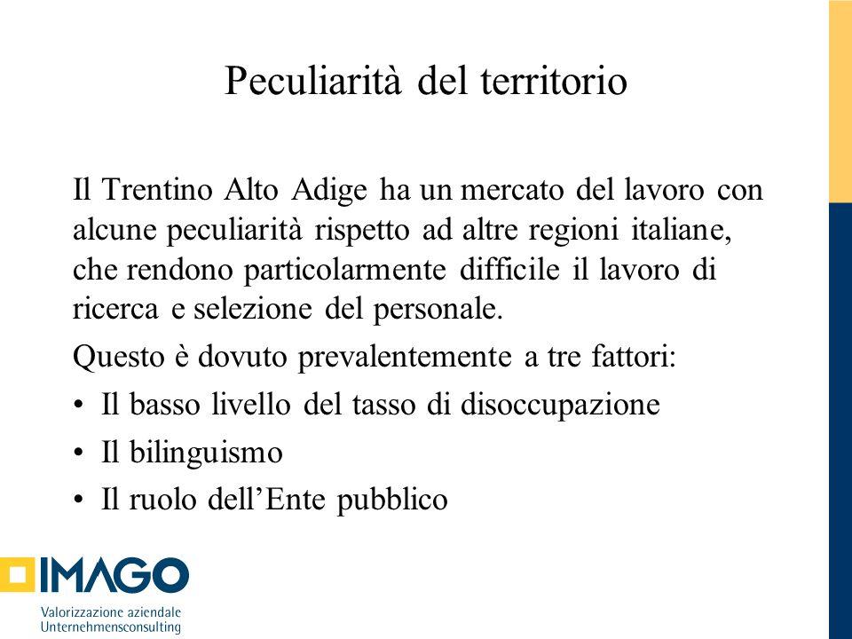 Peculiarità del territorio – il tasso di disoccupazione La situazione occupazionale in Trentino – Alto Adige è molto positiva.