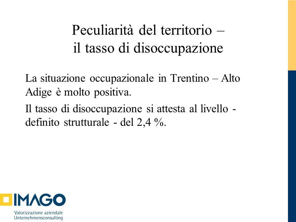 Peculiarità del territorio – il tasso di disoccupazione La situazione occupazionale in Trentino – Alto Adige è molto positiva. Il tasso di disoccupazi