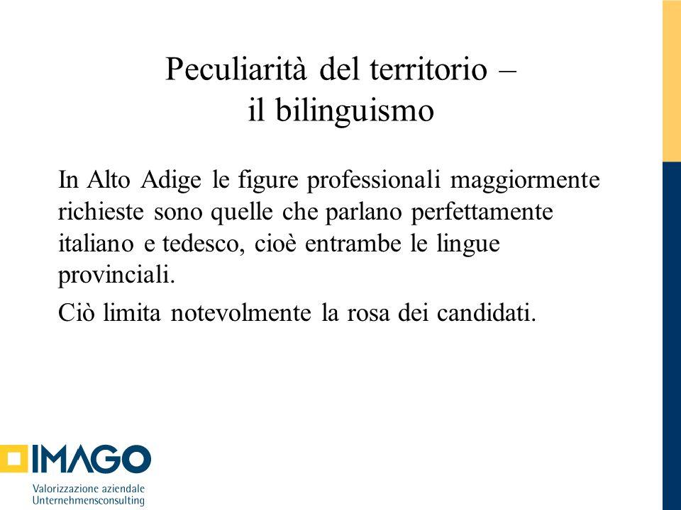 Peculiarità del territorio – il bilinguismo In Alto Adige le figure professionali maggiormente richieste sono quelle che parlano perfettamente italian