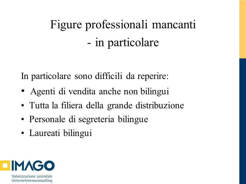 Figure professionali mancanti - in particolare In particolare sono difficili da reperire: Agenti di vendita anche non bilingui Tutta la filiera della