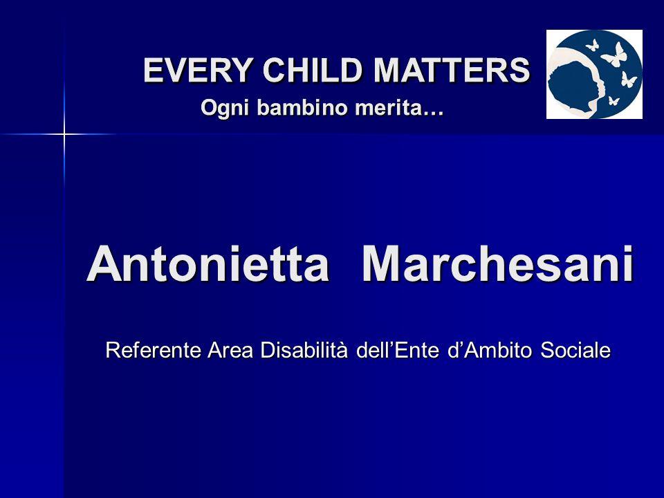 Referente Area Progettazione dellEnte dAmbito Sociale Antonella Coccione EVERY CHILD MATTERS Ogni bambino merita… EVERY CHILD MATTERS Ogni bambino merita…
