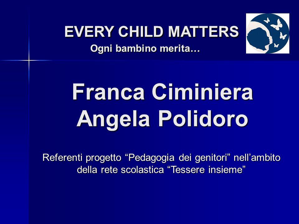 Nicoletta Di Credico EVERY CHILD MATTERS Ogni bambino merita… EVERY CHILD MATTERS Ogni bambino merita… Referente Area Minori dellEnte dAmbito Sociale