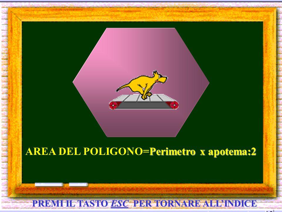 PREMI IL TASTO ESC PER TORNARE ALLINDICE Perimetro x apotema:2 AREA DEL POLIGONO=Perimetro x apotema:2