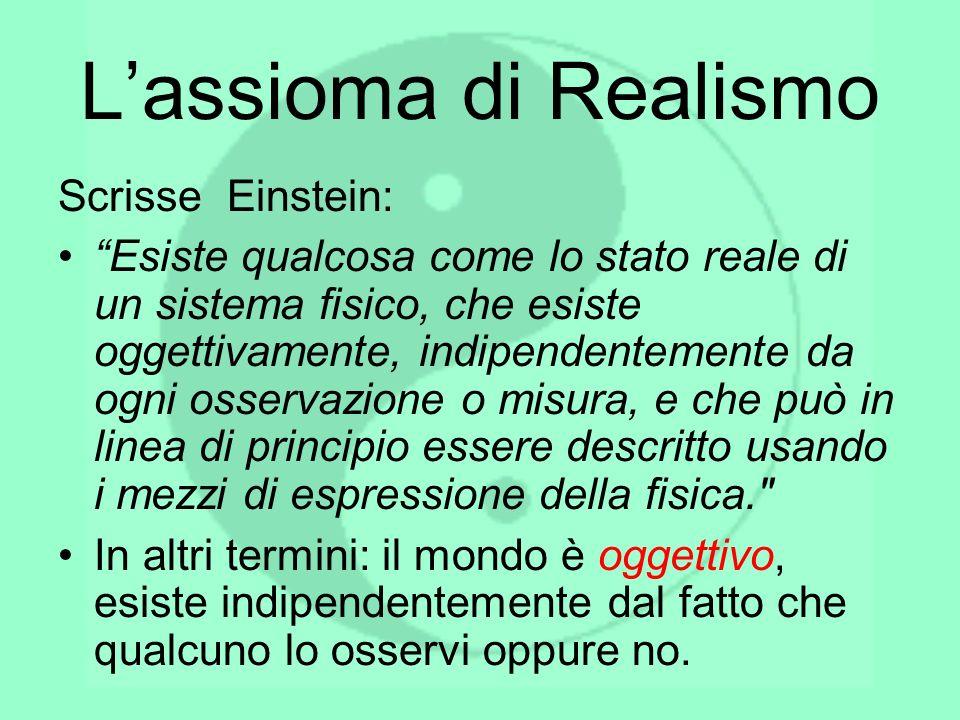 Lassioma di Realismo Scrisse Einstein: Esiste qualcosa come lo stato reale di un sistema fisico, che esiste oggettivamente, indipendentemente da ogni