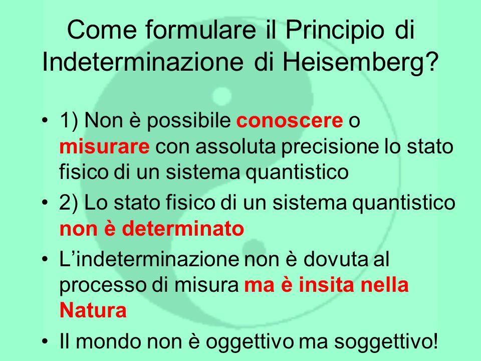 Come formulare il Principio di Indeterminazione di Heisemberg? 1) Non è possibile conoscere o misurare con assoluta precisione lo stato fisico di un s