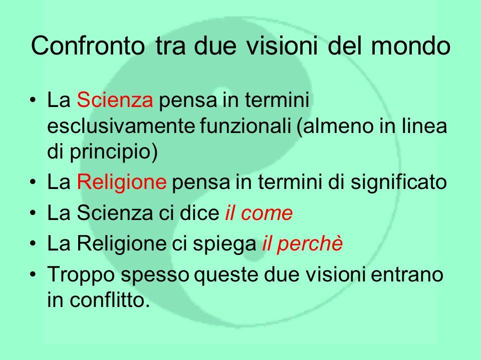 Confronto tra due visioni del mondo La Scienza pensa in termini esclusivamente funzionali (almeno in linea di principio) La Religione pensa in termini