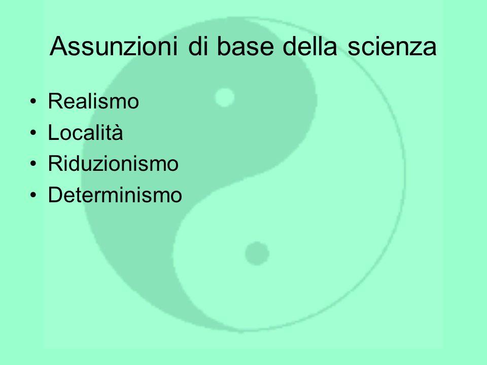 Assunzioni di base della scienza Realismo Località Riduzionismo Determinismo