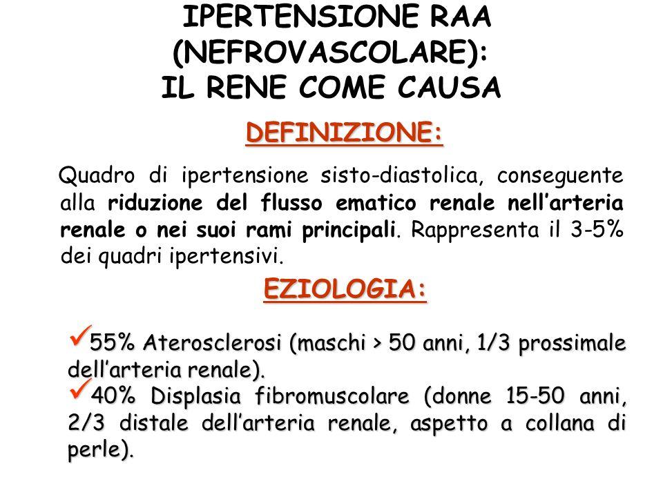 IPERTENSIONE RAA (NEFROVASCOLARE): IL RENE COME CAUSA Quadro di ipertensione sisto-diastolica, conseguente alla riduzione del flusso ematico renale nellarteria renale o nei suoi rami principali.