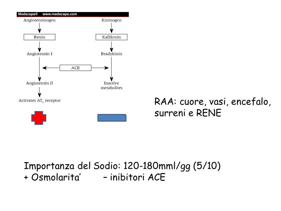 RAA: cuore, vasi, encefalo, surreni e RENE Importanza del Sodio: 120-180mml/gg (5/10) + Osmolarita – inibitori ACE