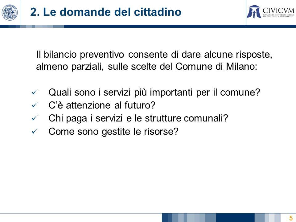 5 2. Le domande del cittadino Il bilancio preventivo consente di dare alcune risposte, almeno parziali, sulle scelte del Comune di Milano: Quali sono
