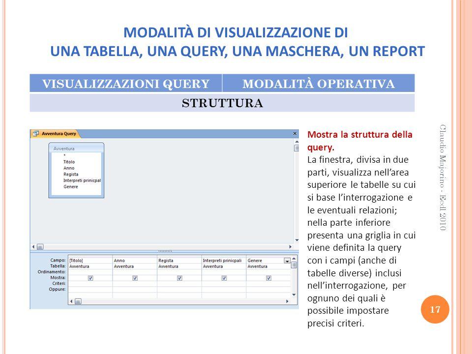 MODALITÀ DI VISUALIZZAZIONE DI UNA TABELLA, UNA QUERY, UNA MASCHERA, UN REPORT VISUALIZZAZIONI QUERYMODALITÀ OPERATIVA STRUTTURA 17 Claudio Majorino -