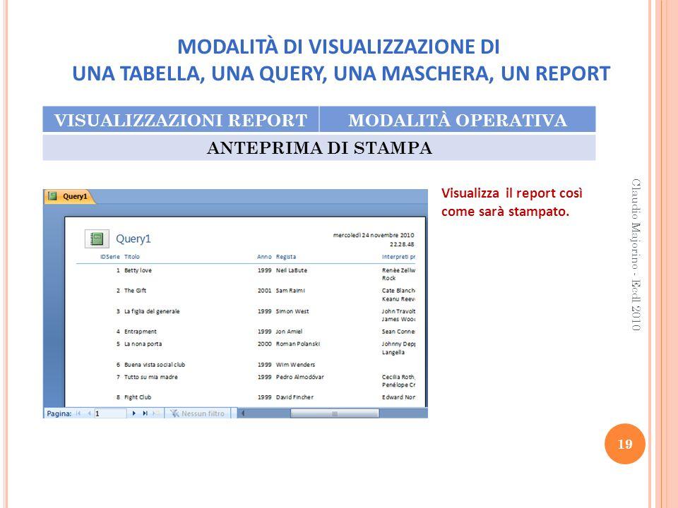 MODALITÀ DI VISUALIZZAZIONE DI UNA TABELLA, UNA QUERY, UNA MASCHERA, UN REPORT VISUALIZZAZIONI REPORTMODALITÀ OPERATIVA ANTEPRIMA DI STAMPA 19 Claudio