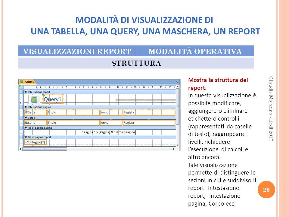 MODALITÀ DI VISUALIZZAZIONE DI UNA TABELLA, UNA QUERY, UNA MASCHERA, UN REPORT VISUALIZZAZIONI REPORTMODALITÀ OPERATIVA STRUTTURA 20 Claudio Majorino