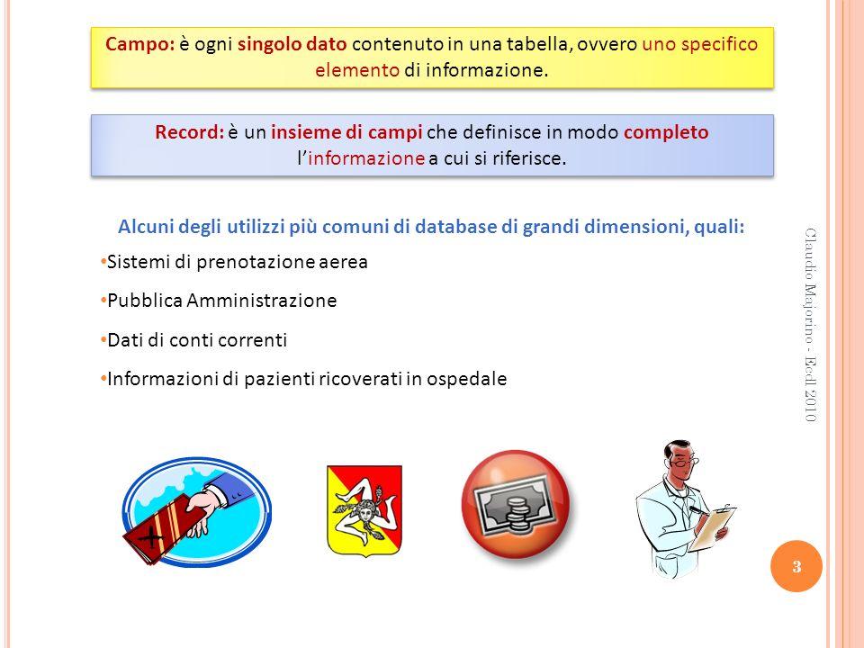 Claudio Majorino - Ecdl 2010 3 Campo: è ogni singolo dato contenuto in una tabella, ovvero uno specifico elemento di informazione. Record: è un insiem