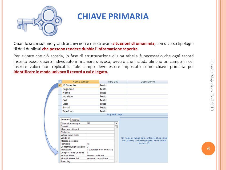 CHIAVE PRIMARIA 6 Claudio Majorino - Ecdl 2010 Quando si consultano grandi archivi non è raro trovare situazioni di omonimia, con diverse tipologie di