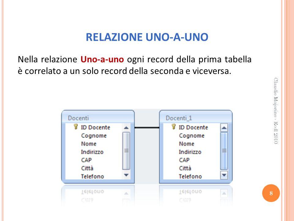 RELAZIONE UNO-A-UNO Nella relazione Uno-a-uno ogni record della prima tabella è correlato a un solo record della seconda e viceversa. 8 Claudio Majori