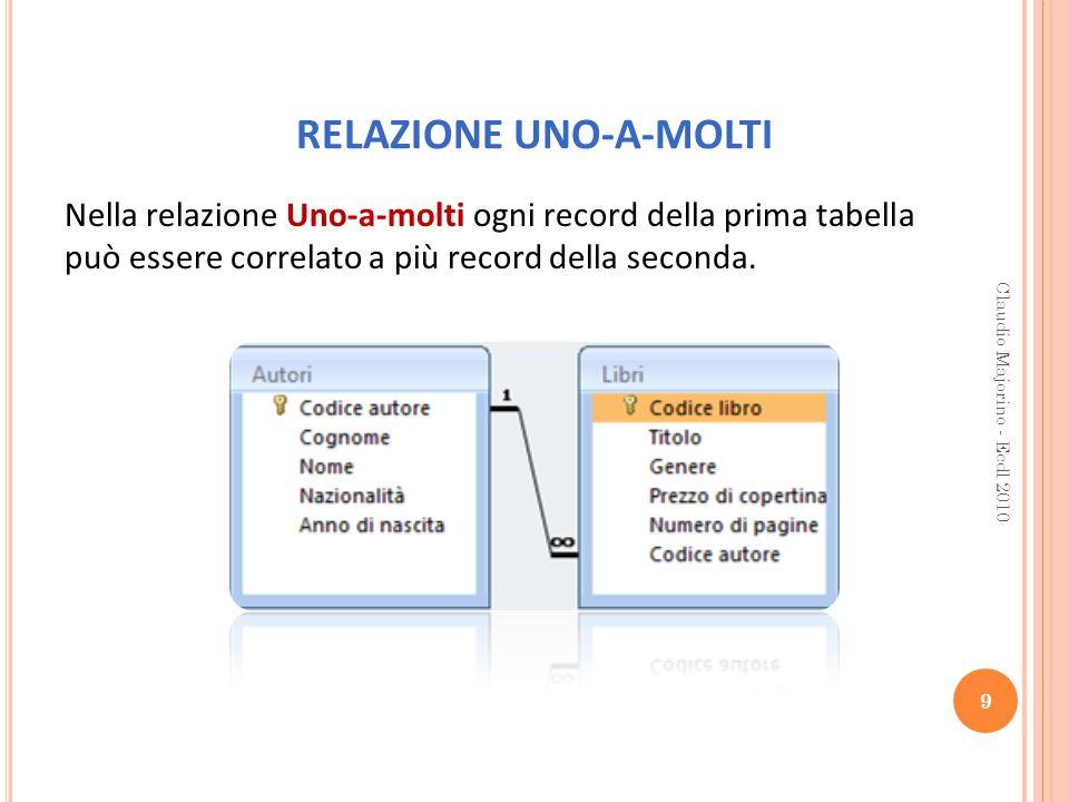 RELAZIONE UNO-A-MOLTI Nella relazione Uno-a-molti ogni record della prima tabella può essere correlato a più record della seconda. 9 Claudio Majorino