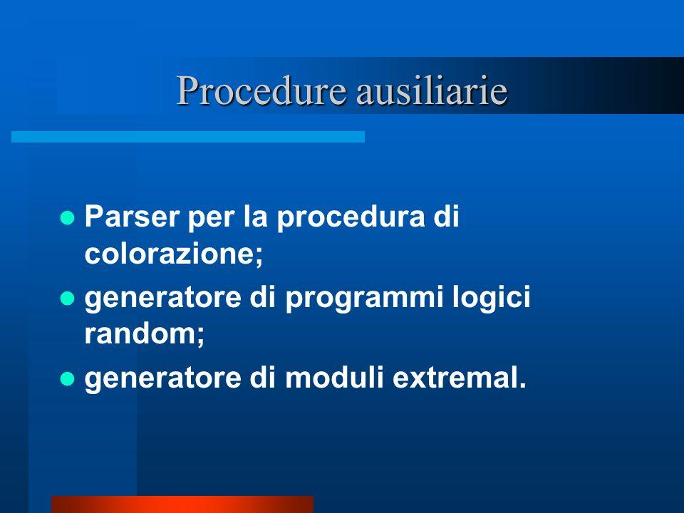 Procedure ausiliarie Parser per la procedura di colorazione; generatore di programmi logici random; generatore di moduli extremal.