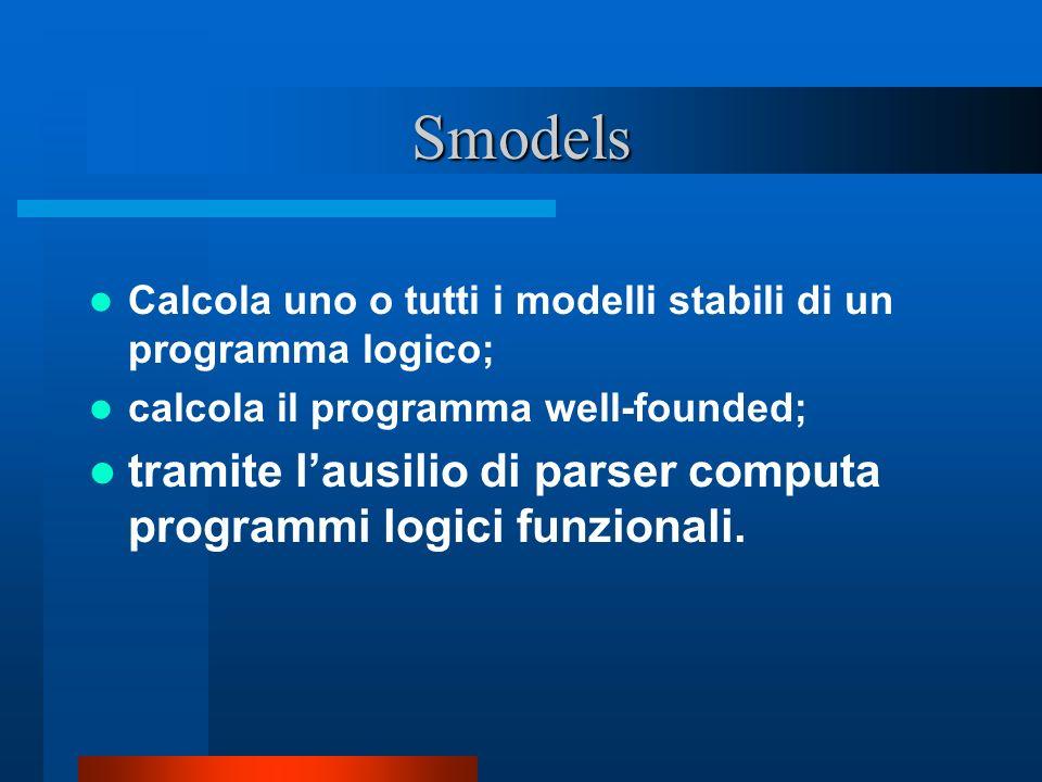 Smodels Calcola uno o tutti i modelli stabili di un programma logico; calcola il programma well-founded; tramite lausilio di parser computa programmi logici funzionali.