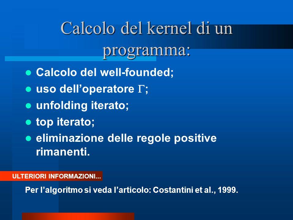 Calcolo del kernel di un programma: Calcolo del well-founded; uso delloperatore ; unfolding iterato; top iterato; eliminazione delle regole positive rimanenti.