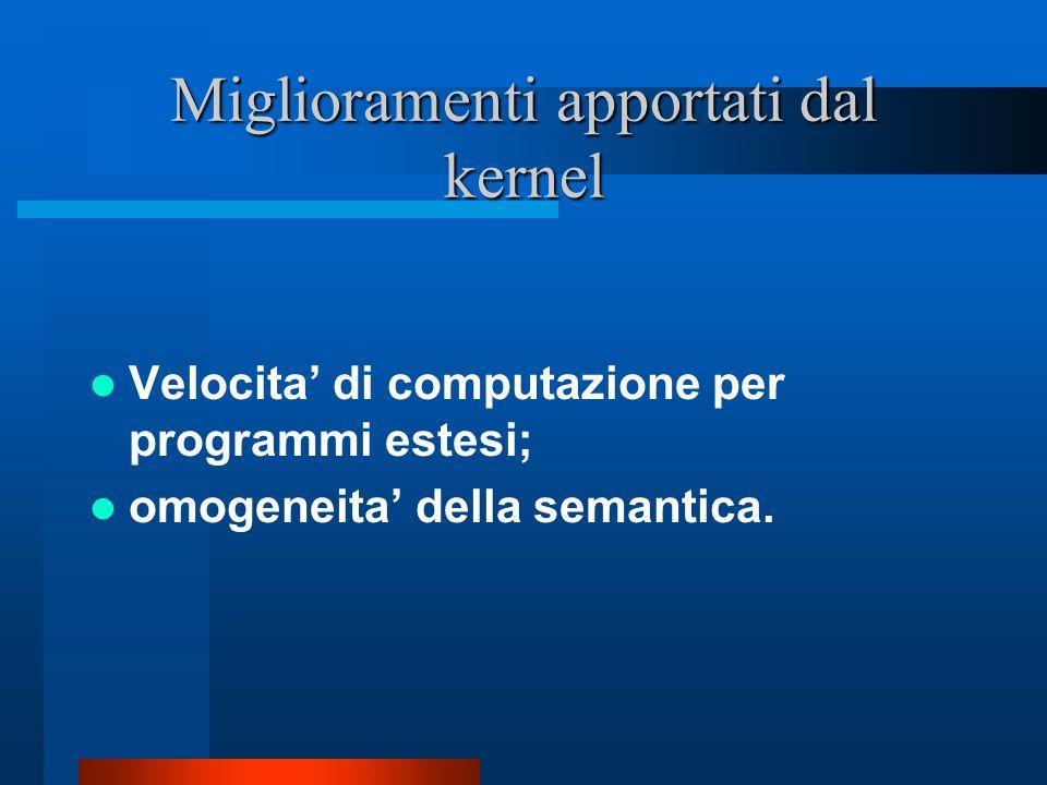 Miglioramenti apportati dal kernel Velocita di computazione per programmi estesi; omogeneita della semantica.