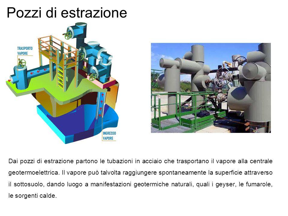 Pozzi di estrazione Dai pozzi di estrazione partono le tubazioni in acciaio che trasportano il vapore alla centrale geotermoelettrica. Il vapore può t