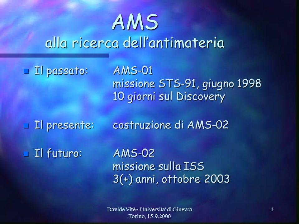 Davide Vitè - Universita di Ginevra Torino, 15.9.2000 12 Lapparato per ISS: AMS-02 (2) n RICH: Aerogel radiator, / 10 -4 –identificazione di carica fino a Z 26 per raggi cosmici fino a 13 GeV per nucleone n ECAL: 3d sampling calorimeter –80 strati di piombo e fibre, 15.5 X 0 –0.5 GeV - 1 TeV, esclusione protoni 10 -4 n TRD (Transition Radiation Detector) –20 strati di radiatori e tubi proporzionali