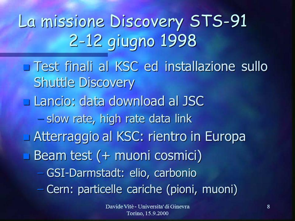 Davide Vitè - Universita di Ginevra Torino, 15.9.2000 8 La missione Discovery STS-91 2-12 giugno 1998 n Test finali al KSC ed installazione sullo Shuttle Discovery n Lancio: data download al JSC –slow rate, high rate data link n Atterraggio al KSC: rientro in Europa n Beam test (+ muoni cosmici) –GSI-Darmstadt: elio, carbonio –Cern: particelle cariche (pioni, muoni)