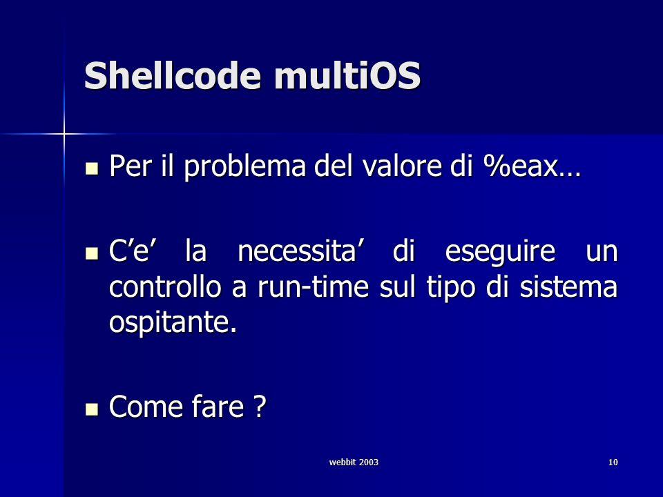 webbit 200310 Shellcode multiOS Per il problema del valore di %eax… Per il problema del valore di %eax… Ce la necessita di eseguire un controllo a run