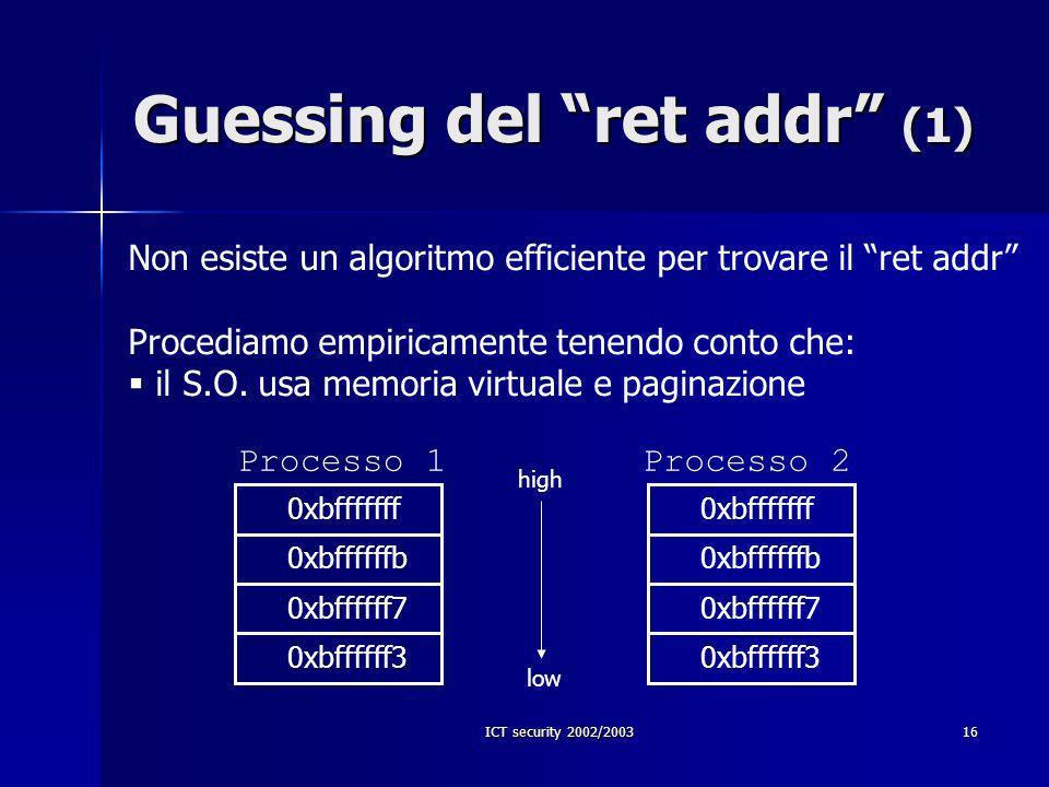 ICT security 2002/200316 Guessing del ret addr (1) Non esiste un algoritmo efficiente per trovare il ret addr Procediamo empiricamente tenendo conto che: il S.O.