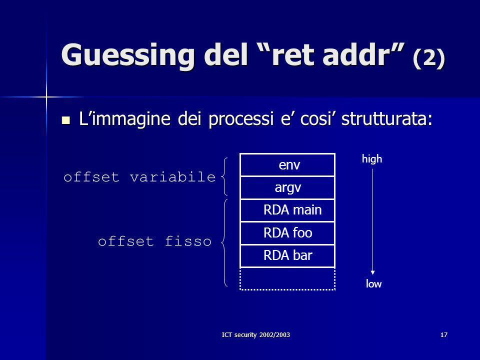 ICT security 2002/200317 Guessing del ret addr (2) env argv RDA main RDA foo high low Limmagine dei processi e cosi strutturata: Limmagine dei process