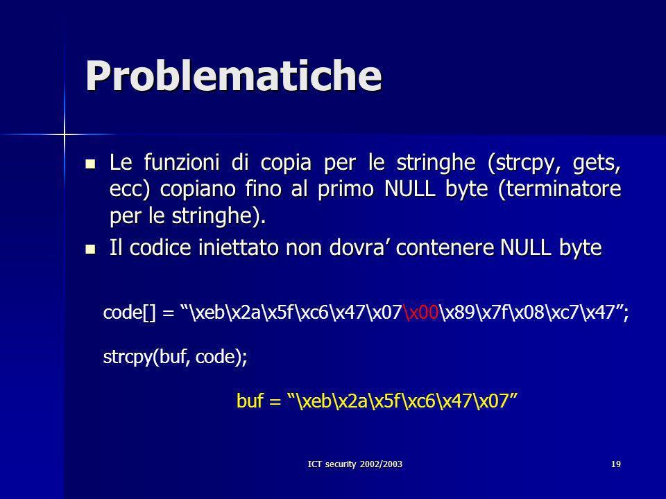 ICT security 2002/200319 Problematiche Le funzioni di copia per le stringhe (strcpy, gets, ecc) copiano fino al primo NULL byte (terminatore per le stringhe).