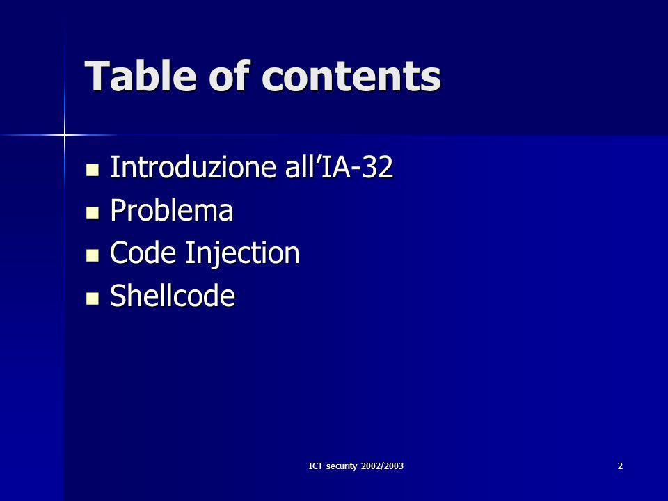 ICT security 2002/2003 23 Lo shellcode