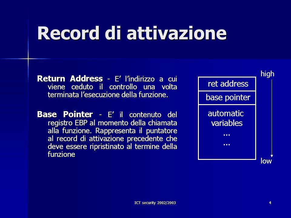 ICT security 2002/200315 Modifica del ret address b a high low 0xbffffcab 0xbffffca7 0xbffffc8b 8B FC FF BF 90 90 int a = 3; int b = 5; int e; e = foo(a, b); printf(%d\n, e); ret address base pointer ret addr