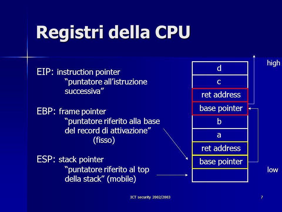 ICT security 2002/20038 Prologo ed epilogo Prologo: Prologo: push %ebp(salva %ebp) mov %ebp, %esp(sposta %esp) Epilogo Epilogo leave(ripristina %esp e %ebp) ret(ripristina %eip)