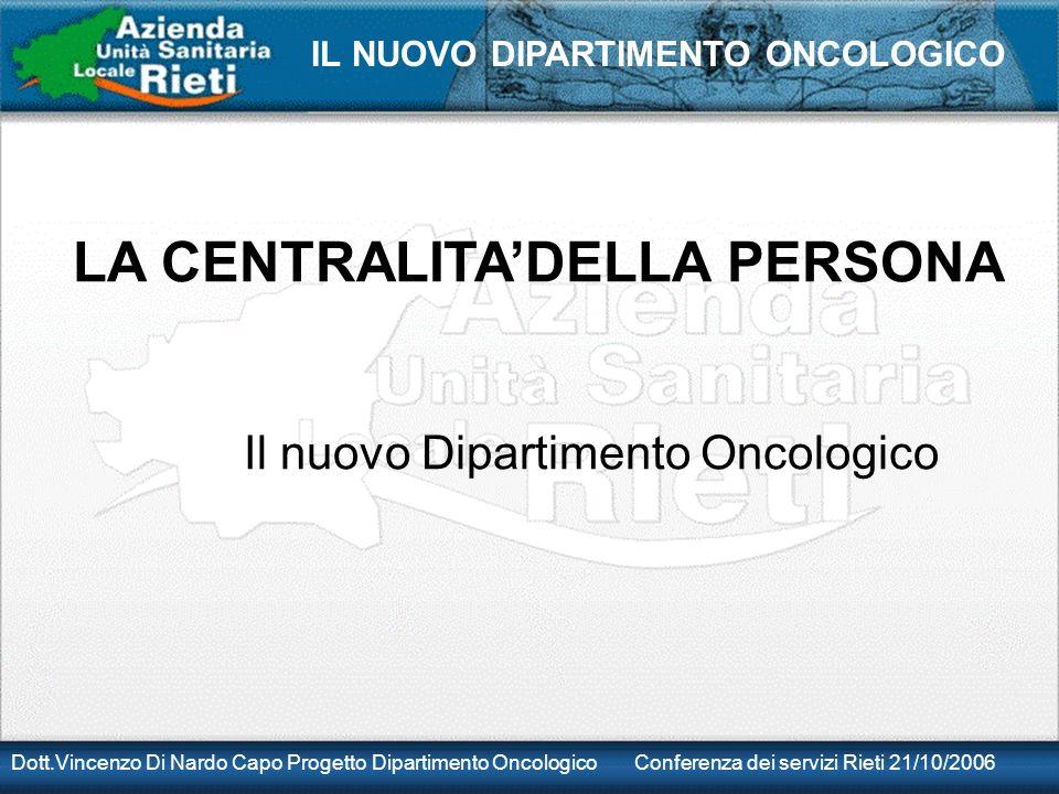 Dott.Vincenzo Di Nardo Capo Progetto Dipartimento Oncologico Conferenza dei servizi Rieti 21/10/2006 IL NUOVO DIPARTIMENTO ONCOLOGICO LA CENTRALITADELLA PERSONA Il nuovo Dipartimento Oncologico