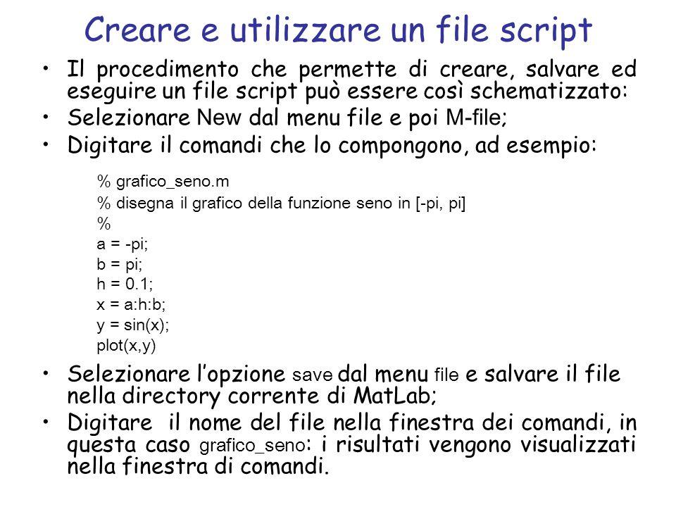 Creare e utilizzare un file script Il procedimento che permette di creare, salvare ed eseguire un file script può essere così schematizzato: Seleziona