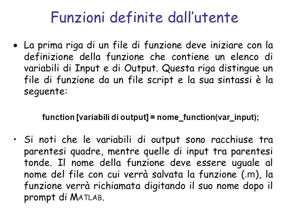 Funzioni definite dallutente La prima riga di un file di funzione deve iniziare con la definizione della funzione che contiene un elenco di variabili
