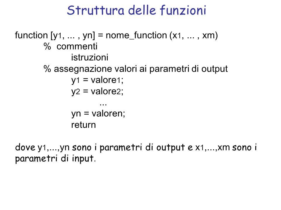 Struttura delle funzioni function [y 1,..., yn] = nome_function (x 1,..., xm) % commenti istruzioni % assegnazione valori ai parametri di output y 1 =