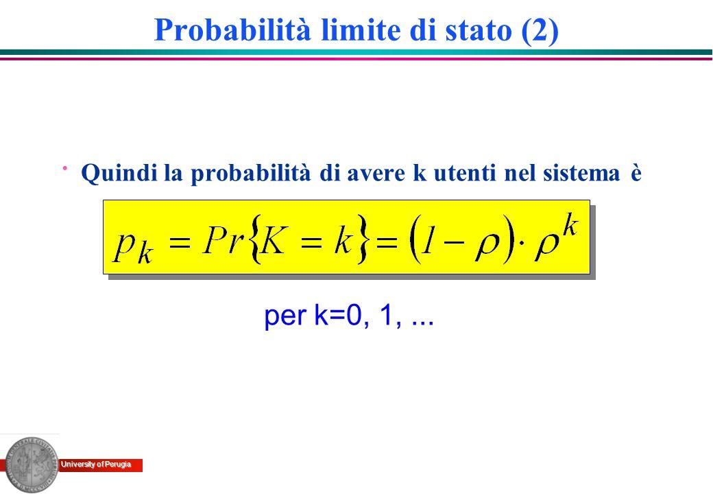 University of Perugia per k=0, 1,... Probabilità limite di stato (2) · Quindi la probabilità di avere k utenti nel sistema è