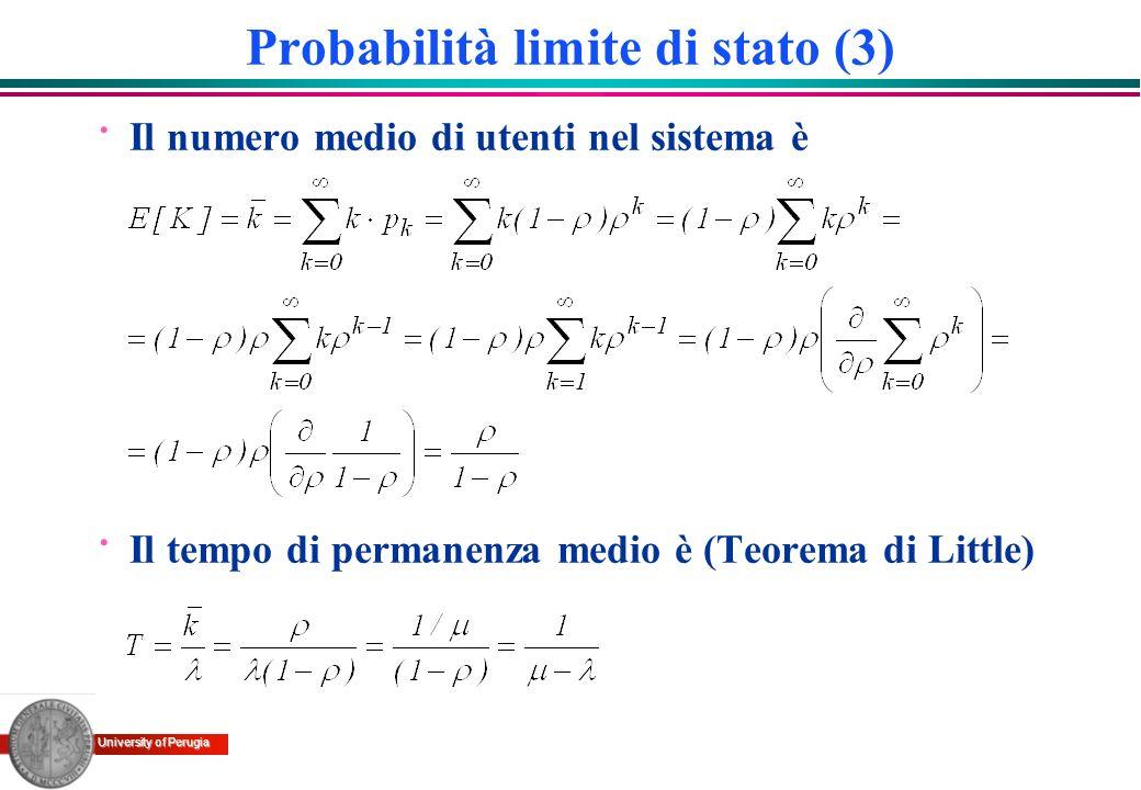 University of Perugia Probabilità limite di stato (3) · Il numero medio di utenti nel sistema è · Il tempo di permanenza medio è (Teorema di Little)
