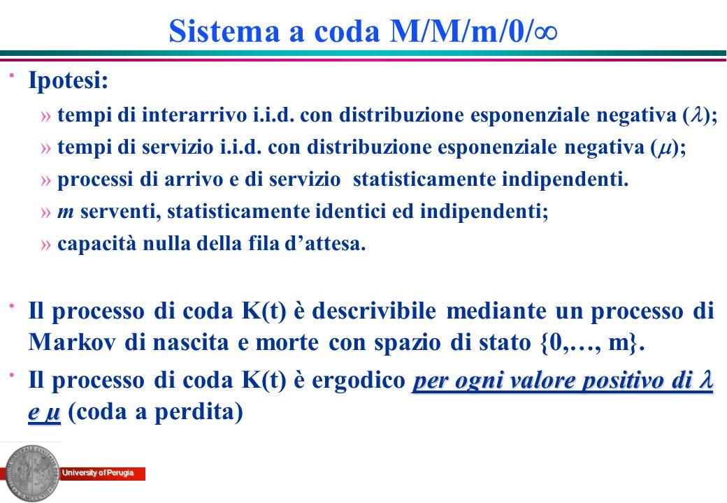 University of Perugia Sistema a coda M/M/m/0/ · Ipotesi: »tempi di interarrivo i.i.d. con distribuzione esponenziale negativa ( ); »tempi di servizio
