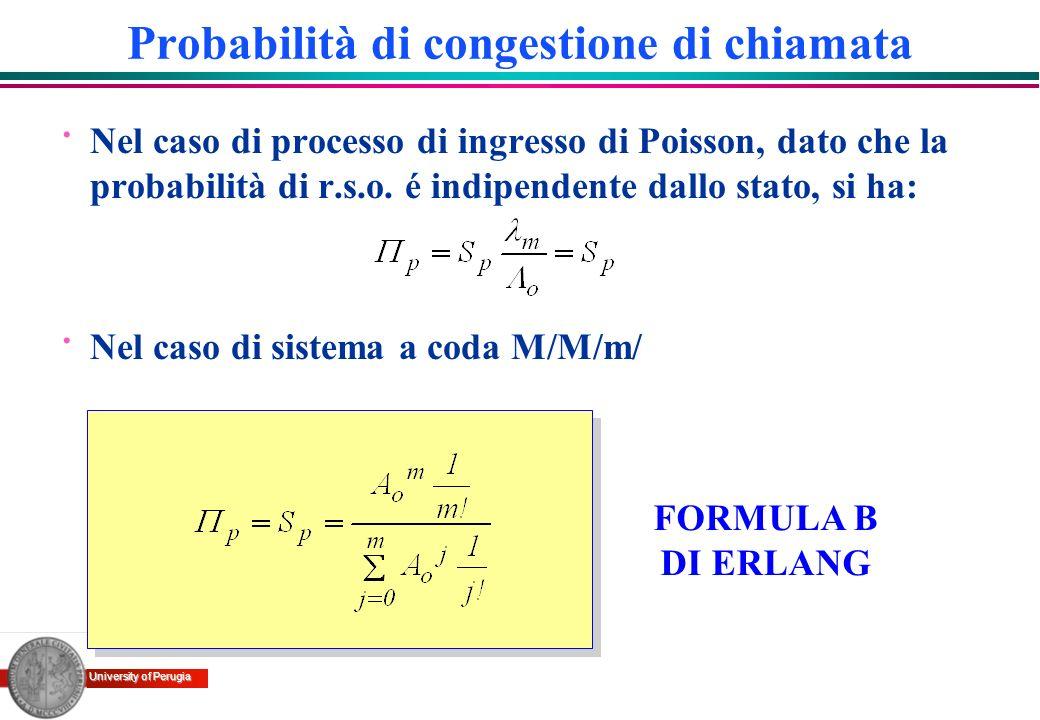 University of Perugia Probabilità di congestione di chiamata · Nel caso di processo di ingresso di Poisson, dato che la probabilità di r.s.o. é indipe